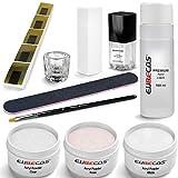 EuBeCos Acryl Nagel Starterset PLUS Liquid 100ml Acrylpuder weiß klar rosa 90g + Anleitung 11...